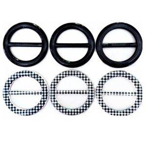 Accessories - T-Shirt Slide Buckle Ring Round Black Plastic 6pcs